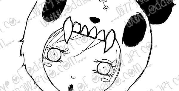 Digi Stamp Girl in Panda Costume Zombies Being Zombies Image No 466