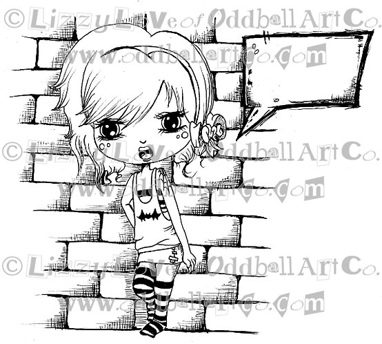 Digi Stamp Big Eye Chibi Girl with Speech Bubble  Image#93