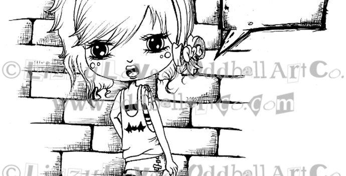 Digi Stamp Big Eye Chibi Girl with Speech Bubble  Image#93