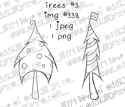 dancing trees digital stamp