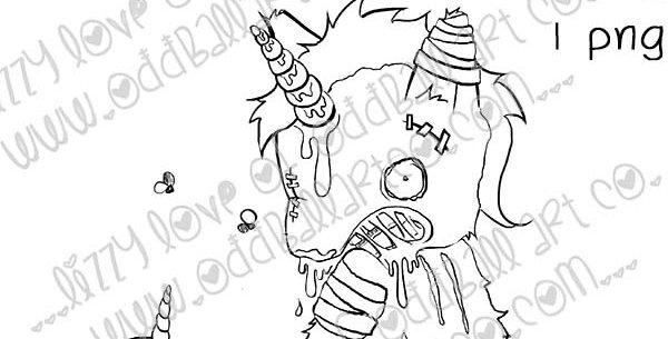 Digital Stamp Creepy Cute Zombie Unicorn & Skull - Glitter Bones Image No.434