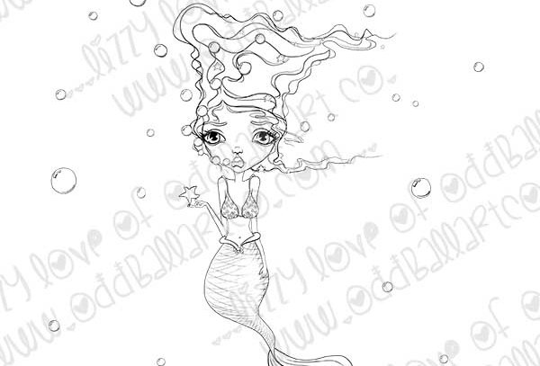 Digital Stamp Whimsical Big Eye Molly the Mischievous Mermaid Image No. 319