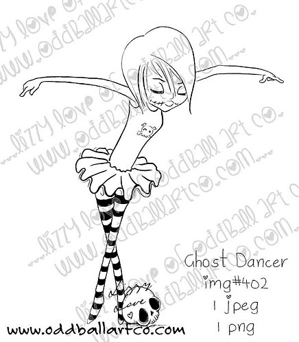 Digital Stamp Creepy Cute Big Eye Girl Ballet ~ Ghost Dancer Image No. 402