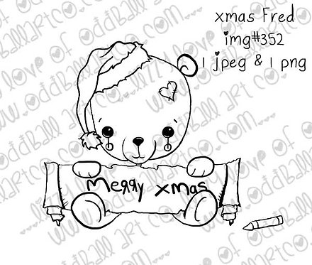 Digital Stamp Sweet Kawaii Christmas Bear X-mas Fred Image No.352