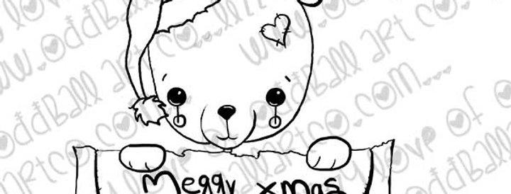 Digital Stamp Sweet Kawaii Christmas Bear X-mas Fred Image No.352