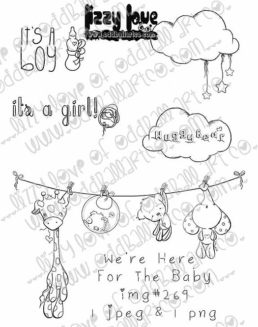 Digital Stamp Baby Hanging Clothesline Here for the Baby Image No.269