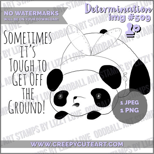 Digi Stamp Cute Chubby Panda with Fairy Wings & Sentiment Image# 509