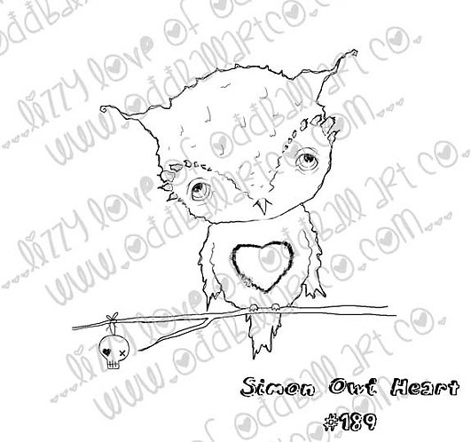 Digi Stamp Creepy Cute Owl & Skull Simon Owl Heart Image No 189