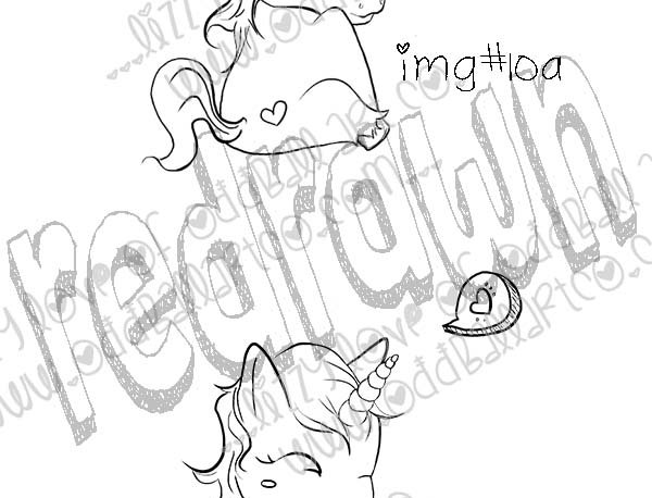 Digital Stamp Super Cute Winking Unicorn with Speech Bubble Image No.10