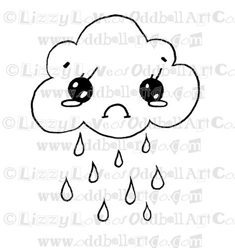 Digital Stamp Cute Sad Rain Cloud ONE DOLLAR STAMP Image No. 43