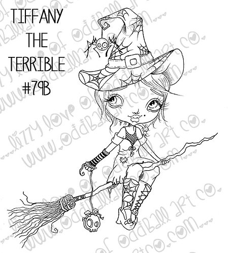 Digital Stamp Creepy Cute Big Eye Witch Tiffany the Terrible Image No. 79