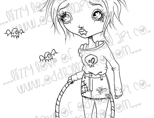 "Digital Stamp Creepy Cute Big Eye Girl Sully ""Good Times"" Seeker Image No 159"