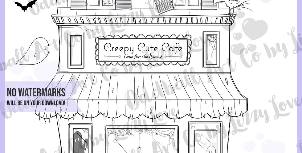 Digi Stamp Creepy Cute Cafe w/ Crow Ghosts and Bats Image 523
