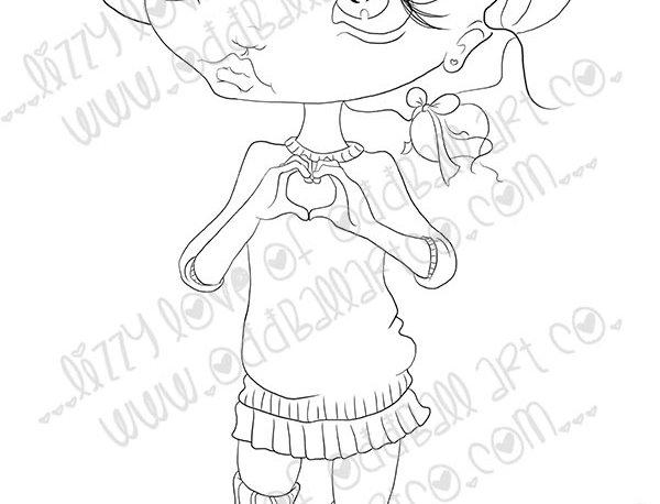 Digital Stamp Cute Big Eye Girl Heart Hands Bessy's Back Image No. 439