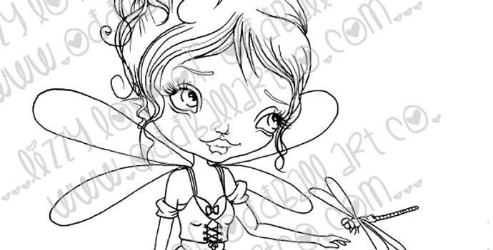 Digital Stamp Big Eye Dragonfly Fairy Girl Tasha Image No. 73