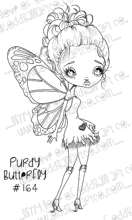 Digital Stamp Sweetest Big Eye Fairy Girl Purdy Butterfly Image No. 164