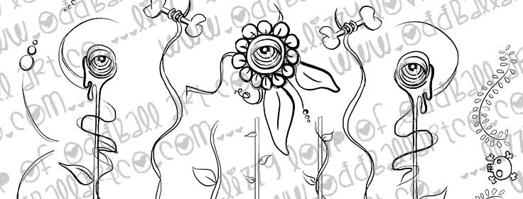 Digital Stamp Creepy Cute Eyeball & Bones Flowers Spooky Garden Image No. 340
