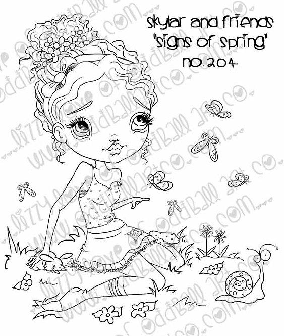 Digital Stamp Big Eye Girl Skylar & Friends in Signs of Spring Image No. 204