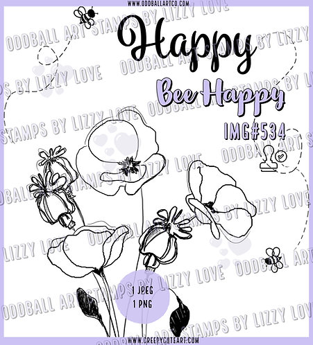 Digi Stamp Bee Happy Spring Flowers Bees and Sentiment Image 534