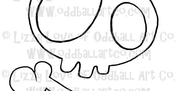 Digital Stamp Creepy Cute Skull w/ Bow & Bone ONE DOLLAR STAMP Image No. 40