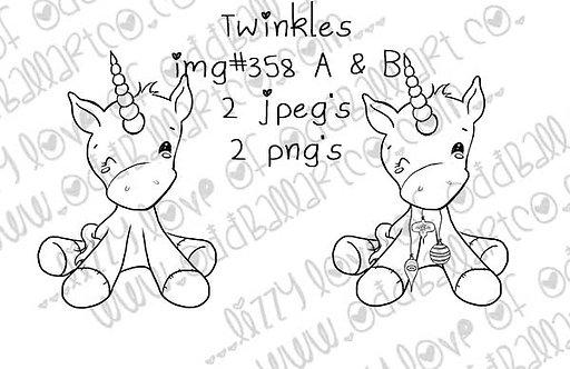 Digital Stamp Kawaii Big Eye Unicorn With Ornaments Twinkles Image No.358
