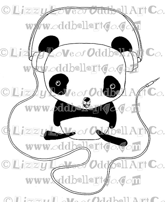 Digi Stamp Cute Cartoon Music Panda with Headphones Image 94