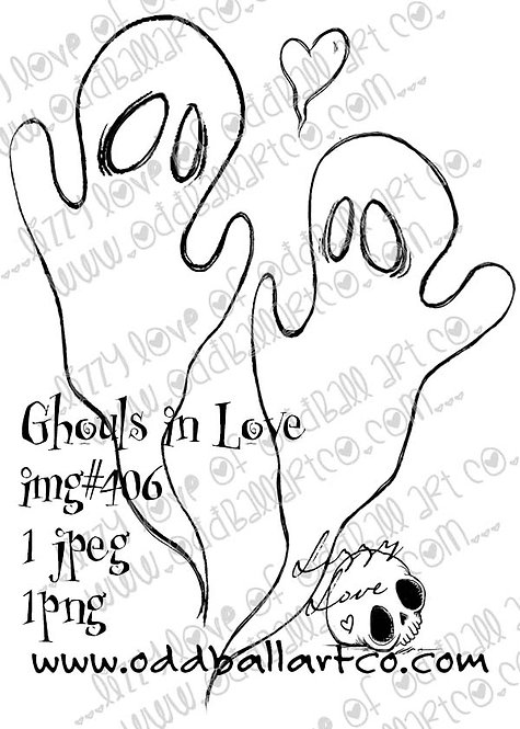 Digital Stamp Whimsical Halloween ~ Ghouls in Love Image No. 406