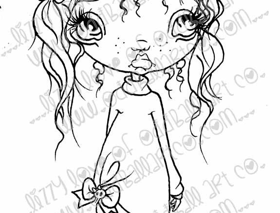 Printable Stamp Big Eye Chibi Girl Alex Digital Download Image No 172