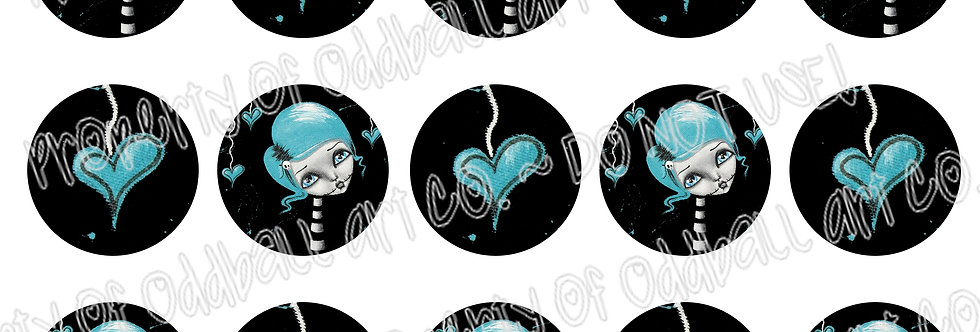 Bottlecap Images Digital Collage Sheet 1 Inch Circles ~ Blue Zombie