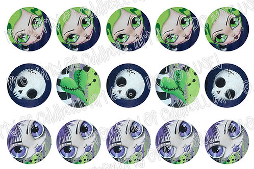 Bottlecap Images Digital Collage Sheet 1 Inch Circles ~ Zombie Series 1