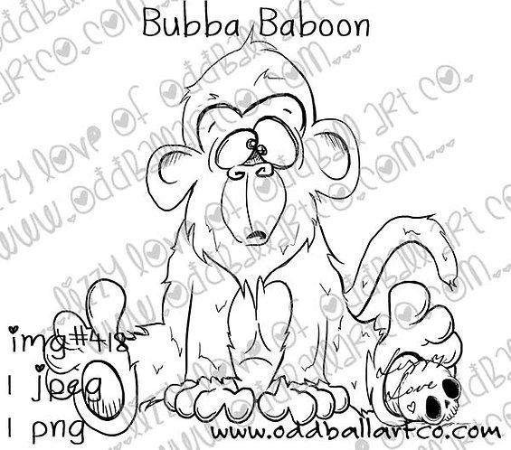 Digital Stamp Cute & Fun Cartoon Animal ~ Bubba Baboon Image No. 418