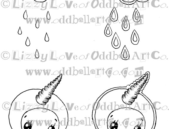 Digi Stamp Tiny Cartoon Character Cute Kawaii Unicorn Image 95