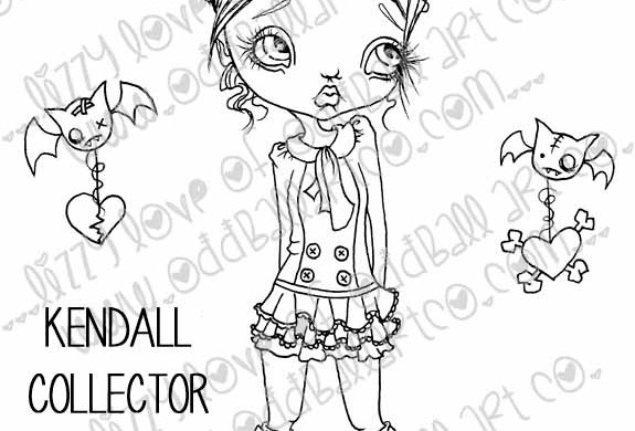 Printable Stamp Creepy Cute Girl Kendell Collector of Hearts Image No 131