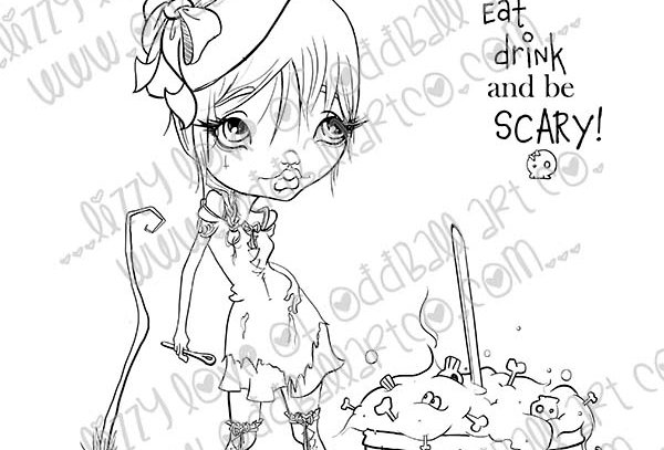 Big Eye Witch & Cauldron Digital Stamp Tabitha the Wart Hoarder Image No. 396