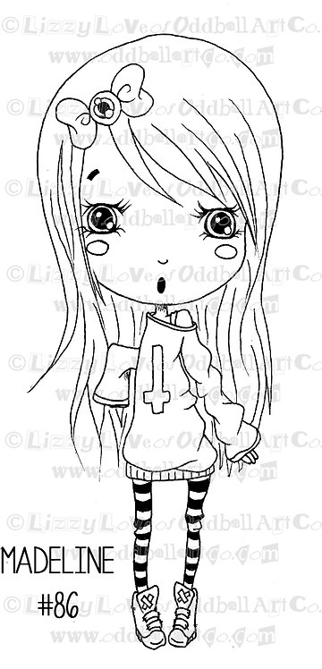 Digi Stamp Creepy Cute Chibi Girl Madeline Image# 86