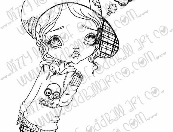 Printable Stamp Big Eye Girl Eve Has Something To Say Download Image No 127