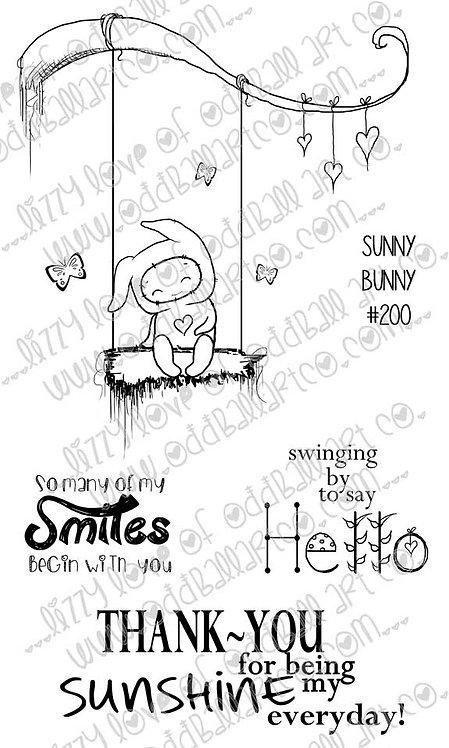 Digital Stamp Kawaii Spring Bunny on a Swing Image No. 200