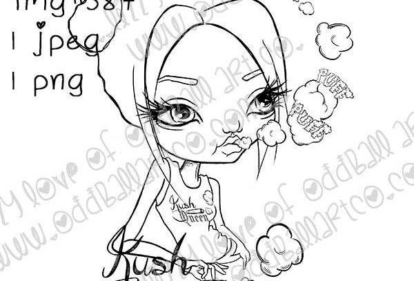 Digital Stamp 420 Girl Mz Kush Queen w/ Sentiments Kush Queen Image No. 387