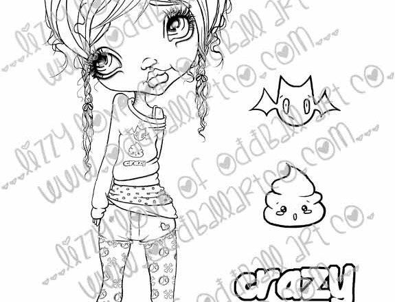 Digital Stamp Creepy Cute Kawaii Girl Crazy Callie Image No. 243