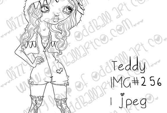 Digital Stamp Whimsical Big Eye Girl in Monster Hood Teddy Image 256