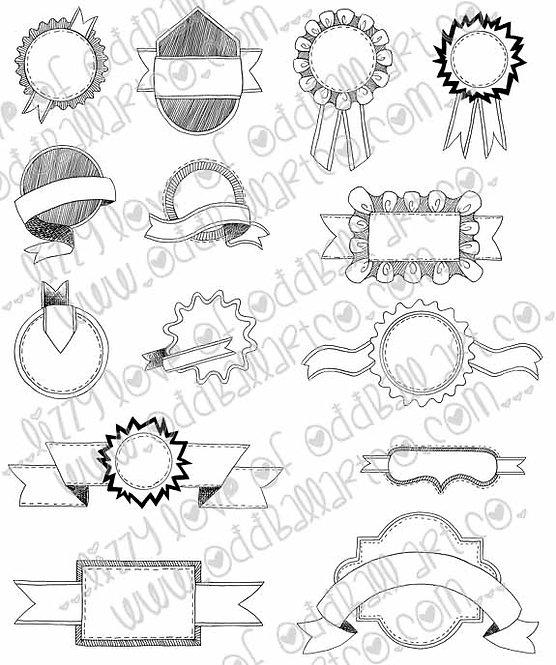 Digital Stamp Set of 14 Hand Drawn Banners & Badges Image No. 203