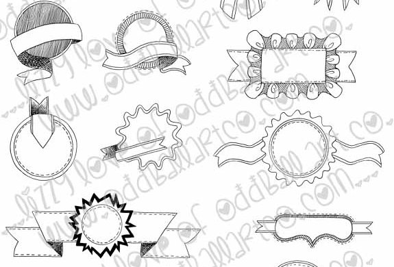 Digital Stamp Set of 14 Hand Drawn Banners & Badges Image No. 203