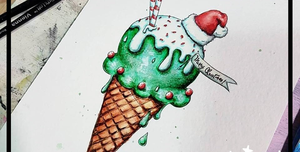 Digi Stamp Cute Christmas Ice Ccream Cone Image No. 492