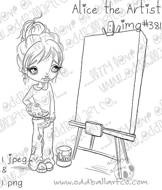 Digital Stamp Big Eye Female Artist Blank Canvas Alice the Artist Image No. 381