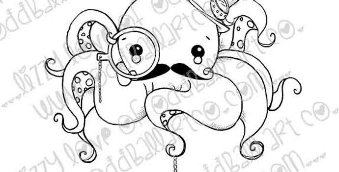 """Digital Stamp Whimsical Steampunk Octopus Freddie """"Legs"""" Wise-Key Image No. 250"""