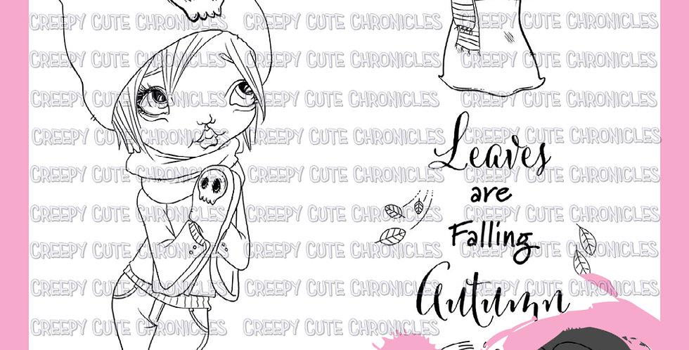 CCC# 131 CRISP LEAVES DIGI STAMP Creepy Cute Chronicles