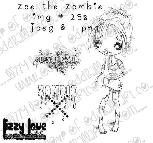 Digital Stamp Creepy Cute Big Eye Zoe the Zombie Girl Image No. 258