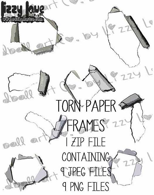 Digital Stamp Ripped Paper Frames Torn Paper Frames Image No. 305