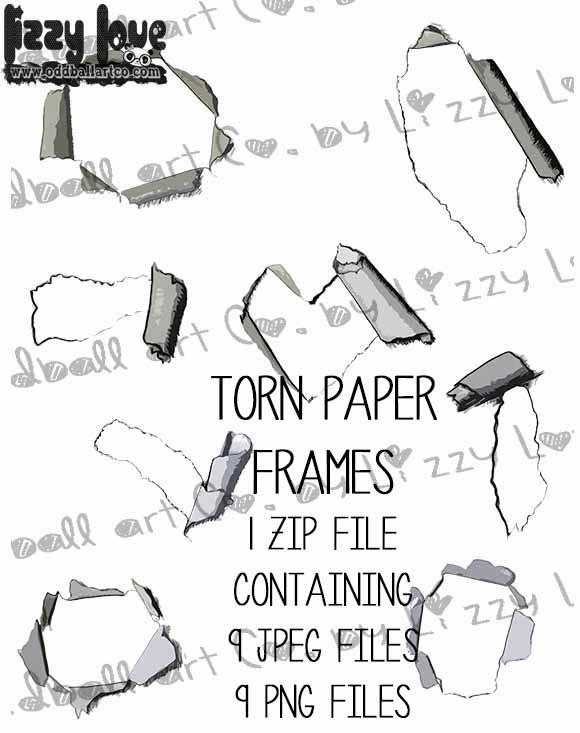Digital Stamp Ripped Paper Frames Torn Paper Frames Image No  305