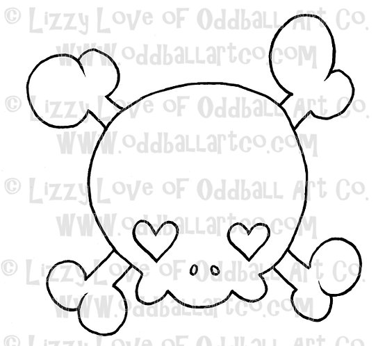 Digital Stamp Creepy Cute Skull with Heart Eyes ONE DOLLAR STAMP Image No. 39